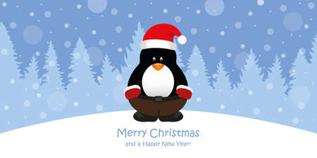 cute christmas greeting card with penguin on snowy forest landscape vector illustration EPS10