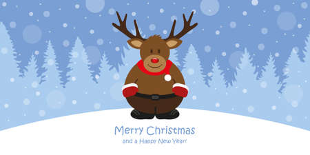 cute christmas greeting card with deer on snowy forest landscape vector illustration EPS10