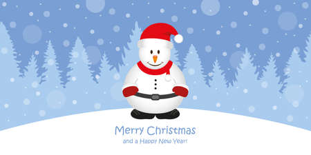 cute christmas greeting card with snowman on snowy forest landscape vector illustration EPS10 Stock Illustratie