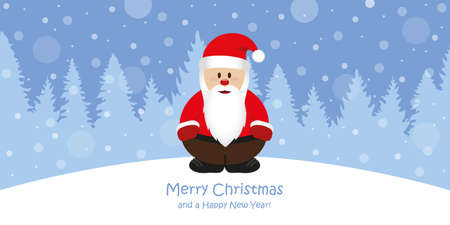 cute christmas greeting card with santa on snowy forest landscape vector illustration EPS10 Stock Illustratie