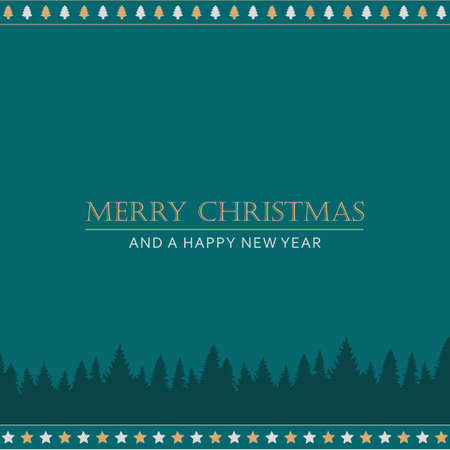 green christmas greeting card with trees vector illustration EPS10 Stock Illustratie