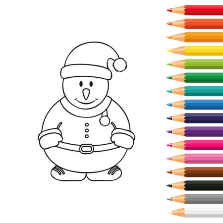 cute snowman for coloring book with pencils vector illustration EPS10