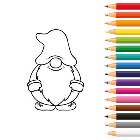 cute dwarf for coloring book with pencils vector illustration Stock Illustratie