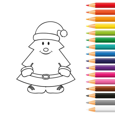 cute christmas tree for coloring book with pencils vector illustration EPS10