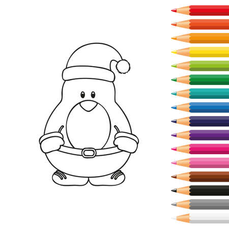 cute penguin for coloring book with pencils vector illustration EPS10
