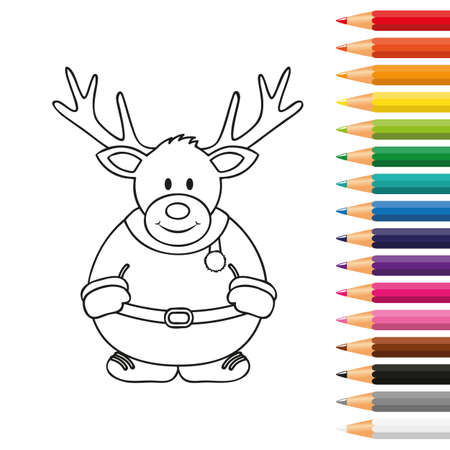 cute christmas deer for coloring book with pencils vector illustration EPS10 Stock Illustratie