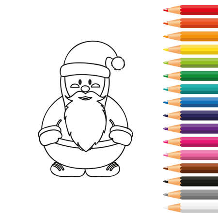 cute santa for coloring book with pencils vector illustration EPS10