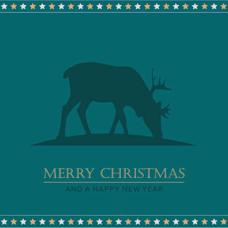christmas greeting card with deer and stars vector illustration EPS10