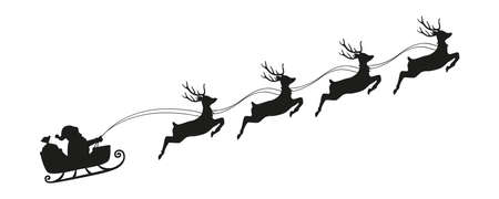 santa claus in a christmas sleigh with reindeer silhouette vector illustration EPS10 Stock Illustratie