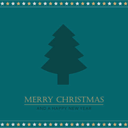 christmas greeting card with tree and stars vector illustration EPS10 Stock Illustratie