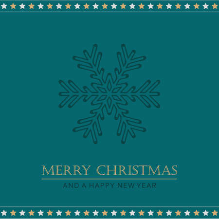 Christmas greeting card with snowflake and stars vector illustration Stock Illustratie