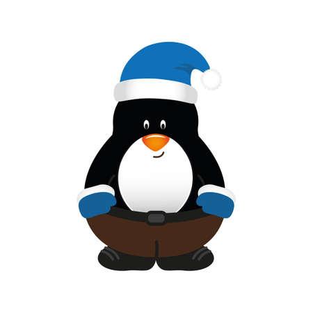 cute christmas penguin cartoon isolated on white vector illustration EPS10 Stock Illustratie