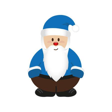 cute christmas santa cartoon isolated on white vector illustration EPS10 Stock Illustratie