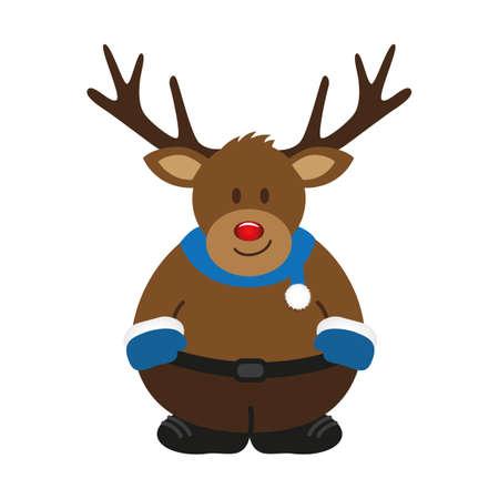 cute christmas deer cartoon isolated on white vector illustration EPS10