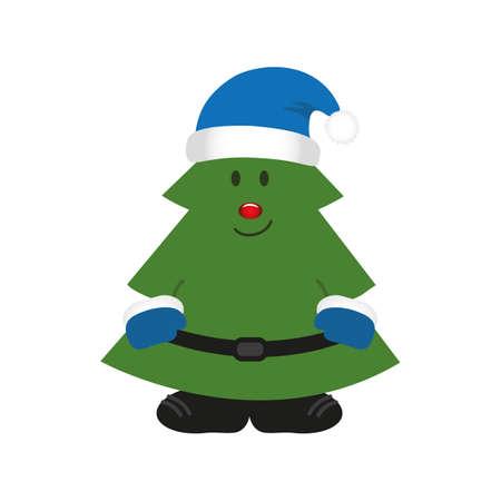 cute christmas tree cartoon isolated on white vector illustration EPS10
