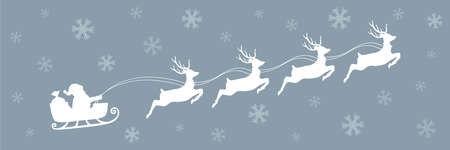 christmas banner santa claus in a sleigh with reindeer vector illustration EPS10