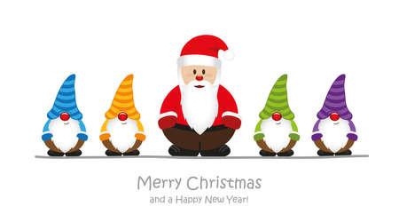cute santa claus and his helper gnome christmas cartoon vector illustration EPS10 Stock Illustratie