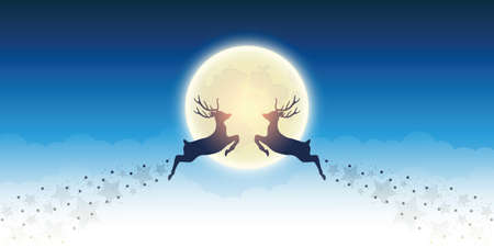 two flying reindeer by full shiny moon magic landscape vector illustration