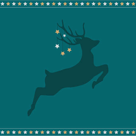 jumping christmas deer with stars vector illustration EPS10