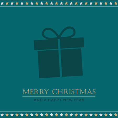 christmas greeting card with gift and stars vector illustration Stock Illustratie