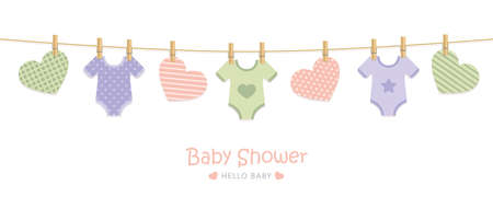 baby shower welcome greeting card for childbirth with hanging utensils vector illustration EPS10 Stock Illustratie
