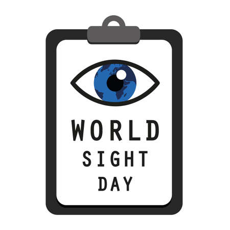 world sight day blue eye on a clipboard with vision test vector illustration EPS10