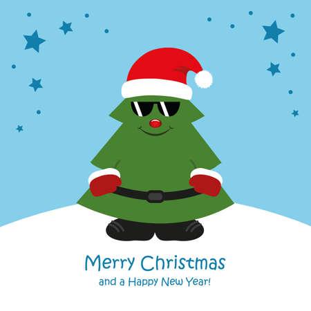cute christmas tree with sunglasses cartoon vector illustration EPS10 Stock Illustratie