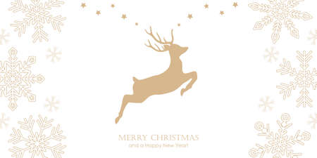 bright christmas greeting card with jumping deer and snowflake border vector illustration EPS10