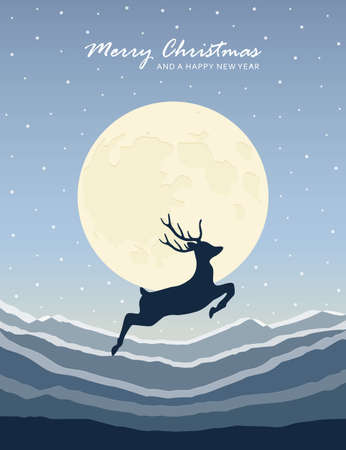 jumping deer on snowy mountain landscape by moon christmas design vector illustration EPS10