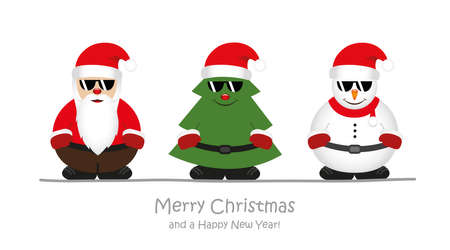 cool santa christmas tree and snowman cartoon with sunglasses vector illustration EPS10