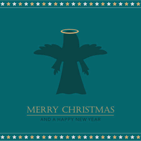 christmas greeting card with angel vector illustration EPS10