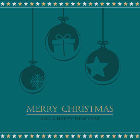 christmas greeting card with hanging decoration vector illustration EPS10