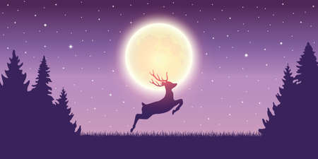 jumping deer in the nature by moon light vector illustration EPS10 일러스트