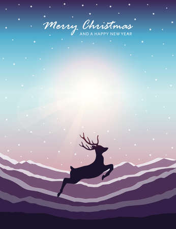 jumping deer on snowy mountain landscape christmas design vector illustration EPS10