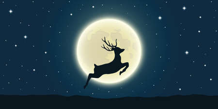jumping deer at the full moon and starry sky vector illustration EPS10