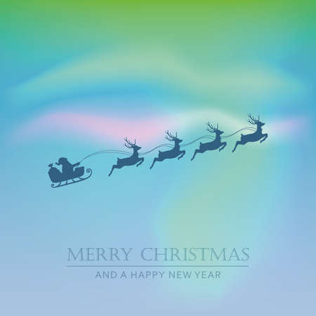 Santa claus in a sleigh with reindeer on polar light