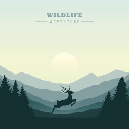 Jumping deer in the wilderness green mountain landscape vector illustration Ilustrace