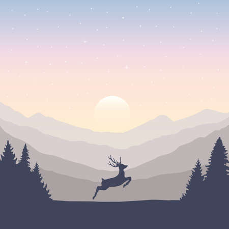jumping deer in the wilderness green mountain landscape vector illustration EPS10