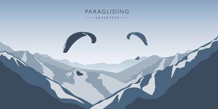 paragliding adventure in blue snowy mountains winter landscape vector illustration EPS10 Vettoriali