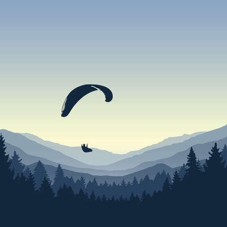 paragliding adventure blue mountain view vector illustration Vecteurs