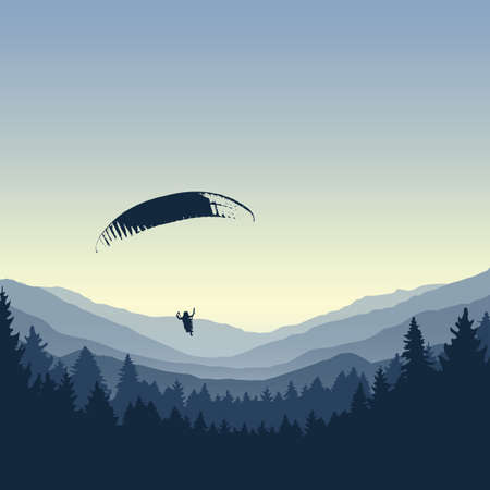 paragliding adventure blue mountain view vector illustration