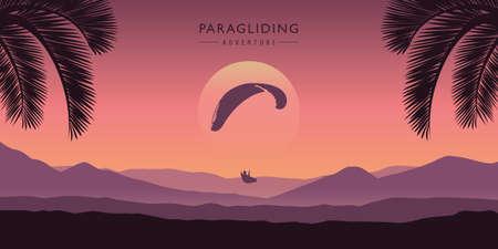 paragliding adventure purple mountain landscape with palm trees vector illustration