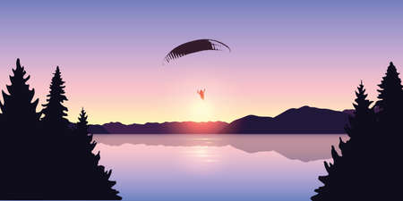 paragliding adventure by the lake at beautiful sunrise vector illustration Ilustrace