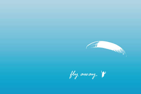 fly away freedom banner with paraglider in blue sky vector illustration