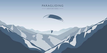 paragliding adventure in blue snowy mountains winter landscape vector illustration