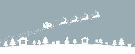 christmas village winter banner with santa sleigh and reindeer vector illustration EPS10 Ilustrace