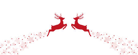 christmas greeting card with two jumping reindeer vector illustration EPS10 Ilustrace