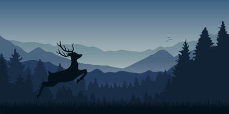 jumping moose in wildlife on blue mountain and forest landscape vector illustration