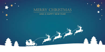 santa claus in a sleigh with reindeer christmas banner vector illustration EPS10