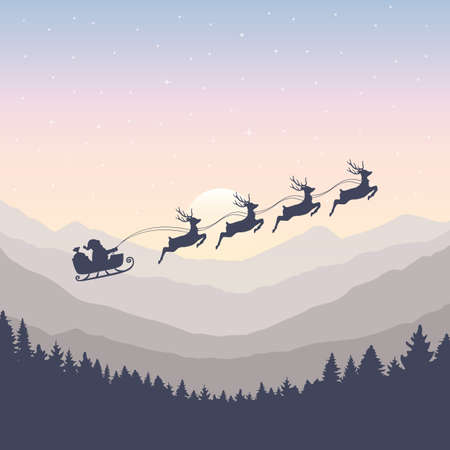 christmas banner santa claus in a sleigh with reindeer by full moon vector illustration Ilustrace